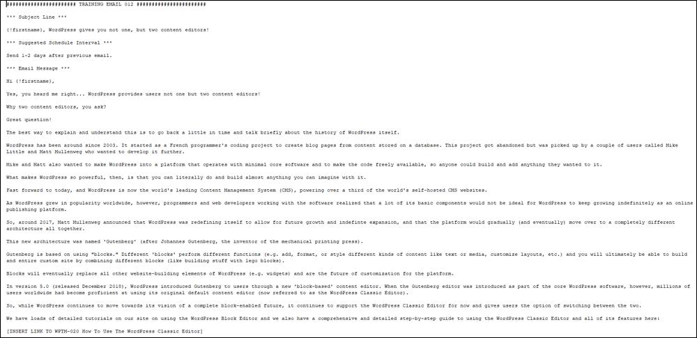 Sample WordPress training email.