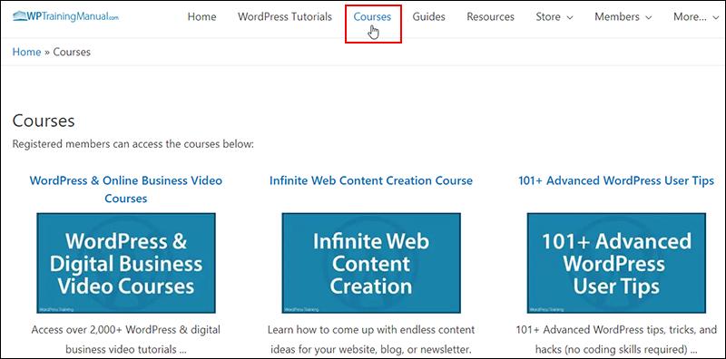WPTrainingManual.com - Courses section.
