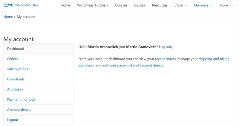WPTrainingManual.com - Member Account