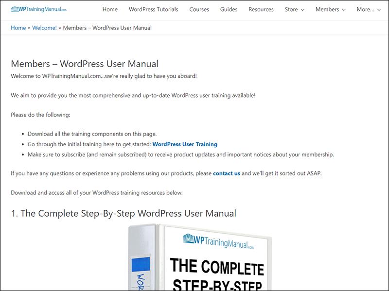 WPTrainingManual.com - Member's Area.