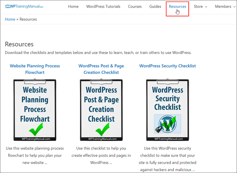WPTrainingManual.com - Additional Resources