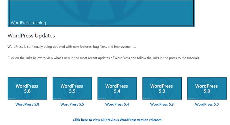 WordPress Updates page.
