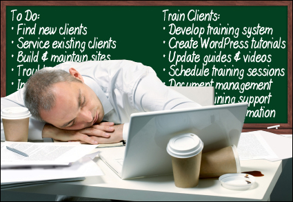 Image of business man fallen asleep on a messy desk with a blackboard behind listing many to-dos.